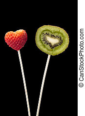 strawberry and kiwi fruit in stick