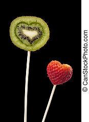 strawberry and kiwi fruits