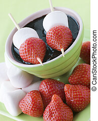 Strawberry and Marshmallow Sticks with Chocolate Sauce