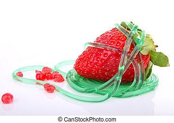 strawberry and molecular dessert on white background