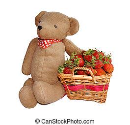 Strawberry and teddy bear