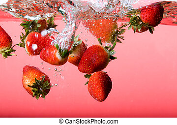 Strawberry Background in Water