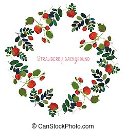 Strawberry background with leaves