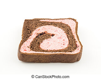 strawberry blend chocolate bread on white background