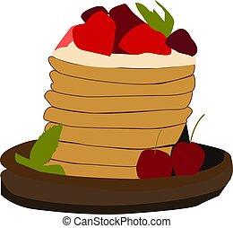 Strawberry cake, illustration, vector on white background.
