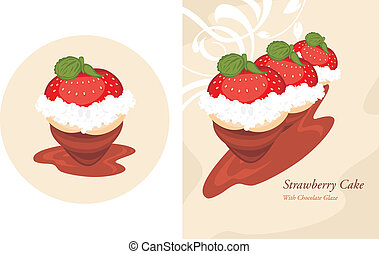 Strawberry cake in a chocolate