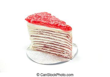 Strawberry cake isolated on white background