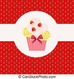 Strawberry cake on strawberry background. Vector illustration.