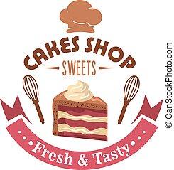 Strawberry cake retro badge for pastry shop design