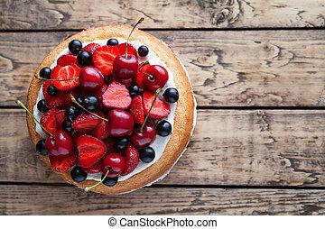 Strawberry cake traditional homemade sweet dessert bakery food