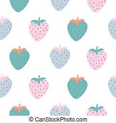 Strawberry cartoon abstract seamless pattern with hand drawn berries. Vector illustration.