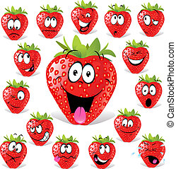 strawberry cartoon with many expressions