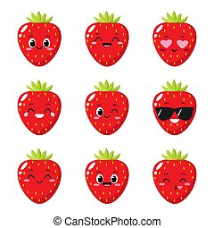 Strawberry character with funny face