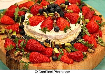 Strawberry Cheese Platter - Platter of strawberries, cheese,...