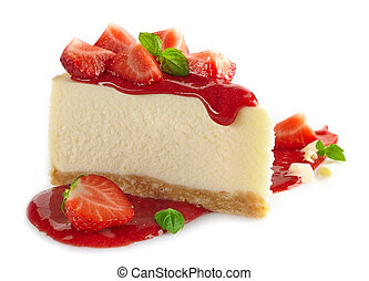 strawberry cheesecake and fresh berries on white background