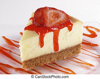 Strawberry Cheesecake - Cheesecake with sliced strawberries...