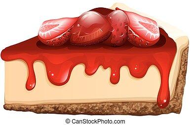 Strawberry cheesecake with jam illustration