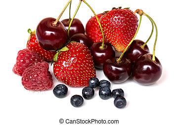 Strawberry, cherry, raspberry and blueberry