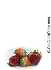 Strawberry cherry red on white isolate, Front view isolated white