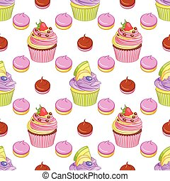 Strawberry chocolate and blueberry lemon cupcakes and meringues vector seamless pattern.