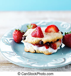 strawberry chocolate chip cookie sandwich with whipped cream