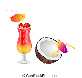 Strawberry Cocktail and Half of Coconut with Straw