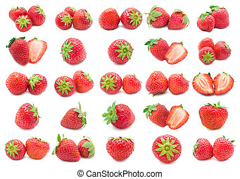 Collection of red strawberry isolated on white background