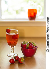 strawberry compote - chilled strawberry drink served with...