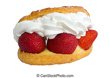 Strawberry cream with bread on white background