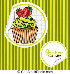 strawberry cupcake cartoon sticker