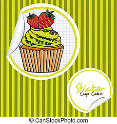 strawberry cupcake cartoon sticker