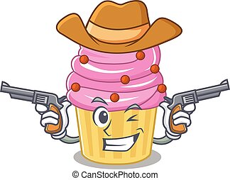Strawberry cupcake Cowboy cartoon concept having guns
