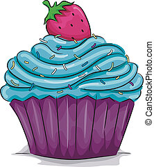 Strawberry Cupcake - Illustration of a Cupcake with a ...