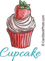 Strawberry cupcake or muffin sketch