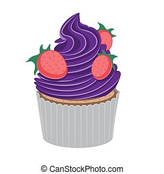 Strawberry cupcake purple on a white isolated background. Vector image