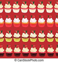 Strawberry cupcake seamless vector