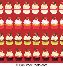Strawberry cupcake seamless vector