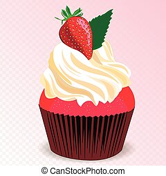 Strawberry cupcake vector
