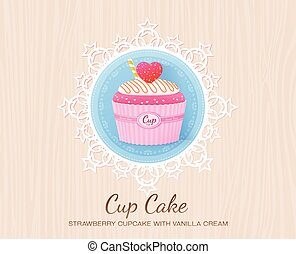 strawberry cupcake with vanilla cream