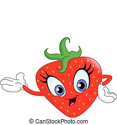 Cute cartoon strawberry presenting with her hand