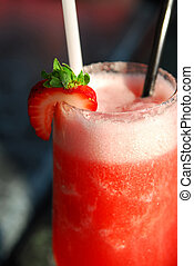 Strawberry daiquiri cocktail served in a cold glass