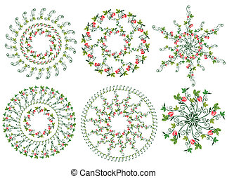 Strawberry design elements circles set