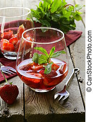strawberry dessert in a glass