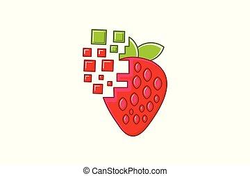 Strawberry digital logo Designs Inspiration Isolated on White Background