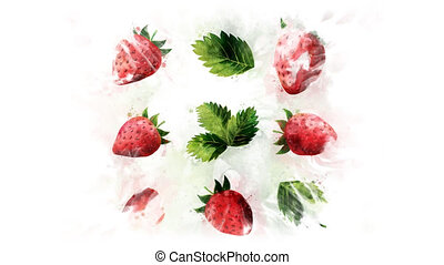 Strawberry divided into berries - Animation of the...