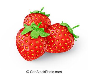 strawberry - juicy strawberry isolated on a white background