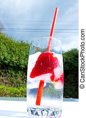 Strawberry drink in a glass