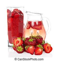 Strawberry drink - Strawberry in a glass, jug of strawberry...