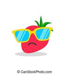 strawberry face cartoon with emotion sunglasses