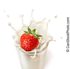 Strawberry falling into a glass of milk creating a splash.